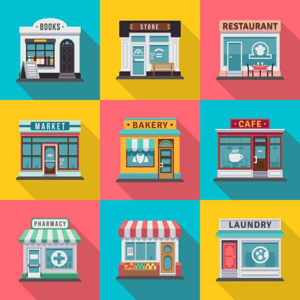 一套平面店鋪建築外牆圖示。當地市場店鋪設計的向量插圖 - 商店 幅插畫檔、美工圖案、卡通及圖標