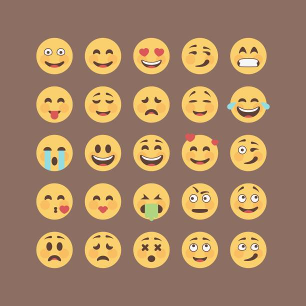 set of flat solid color emoticons, emoji isolated on brown background, vector illustration. - kiss stock illustrations