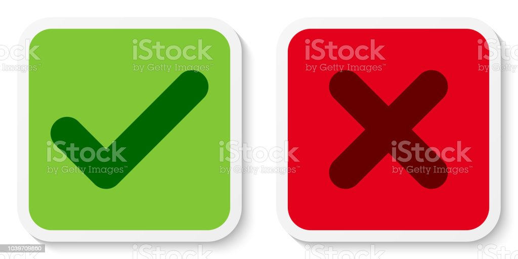 Set Of Flat Square Check X Mark Icons Buttons Stickers Tick And