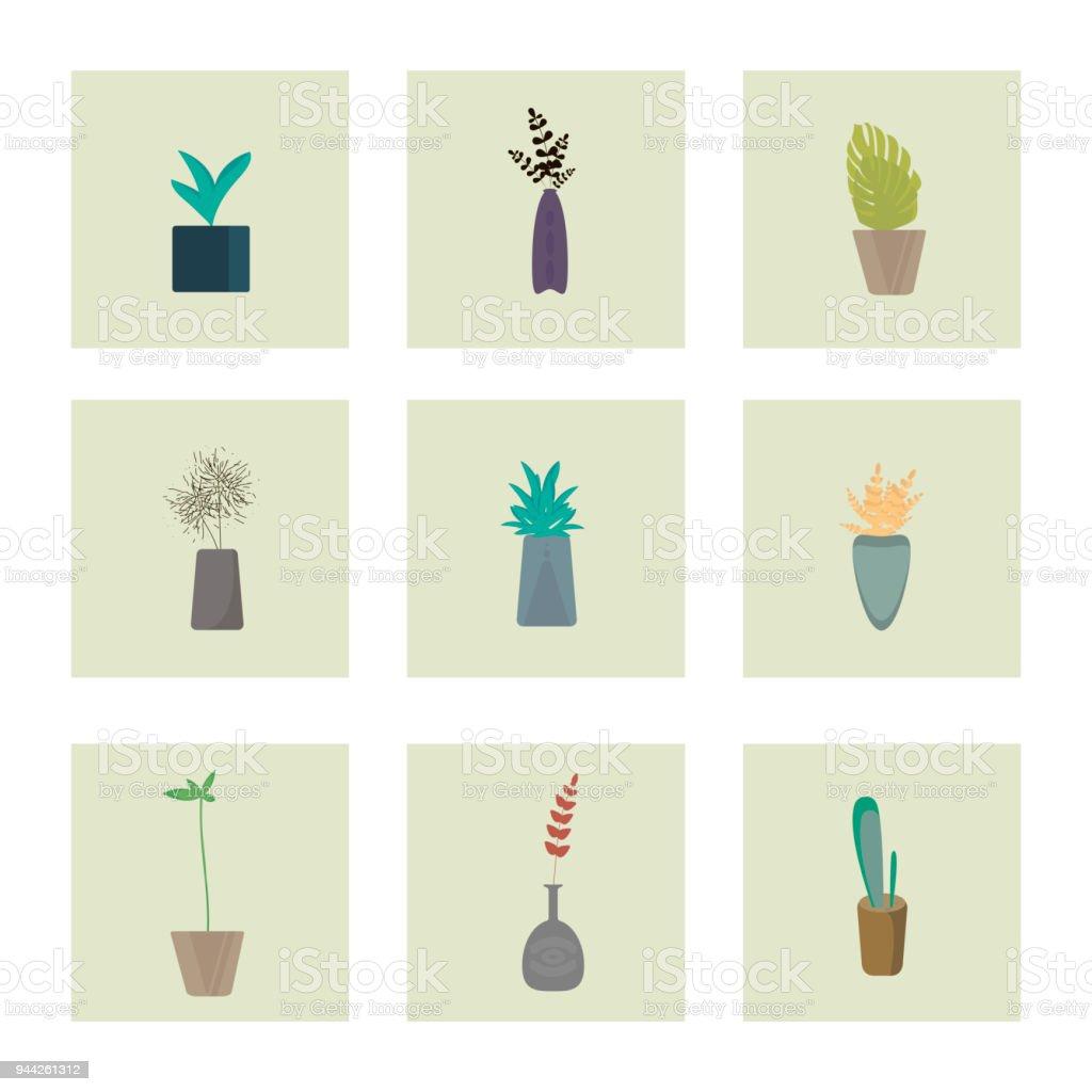 Satz Von Flachen Stil Bunte Zimmerpflanzen Dekorative Pflanzen Vektorsammlung Von Indoor Blumen Stock Vektor Art Und Mehr Bilder Von Aloe Istock