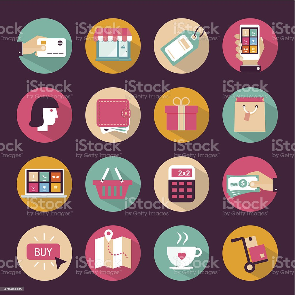 Set of flat style shopping icons vector art illustration