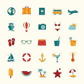 Set of flat style travel icons