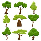 Set of flat stylized trees. Cartoon garden green tree. Nature environment organic forest and park. Spring or summer trees. Vector illustration