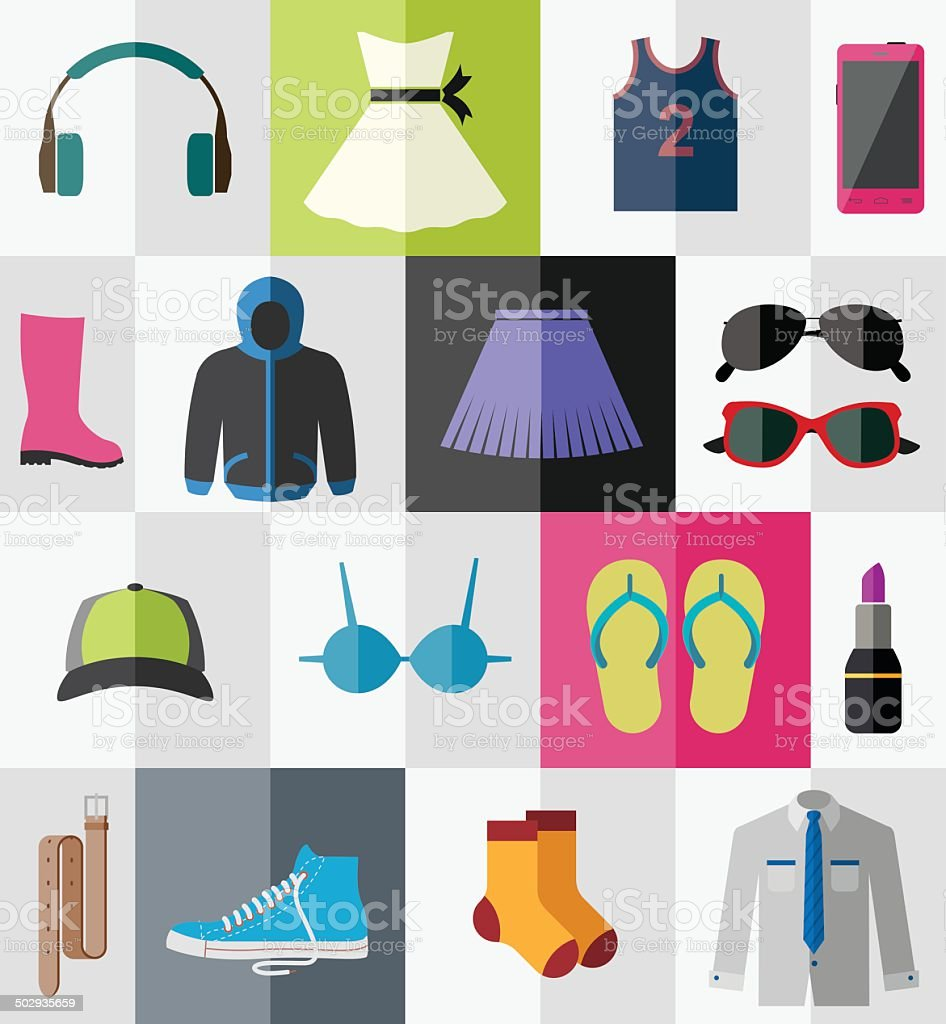 Set of flat teen's clothes and accessories vector art illustration