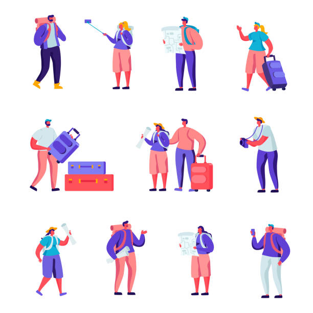 Set of Flat Tourists Traveling Around the World Characters. vector art illustration