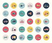 Set of flat transport icons