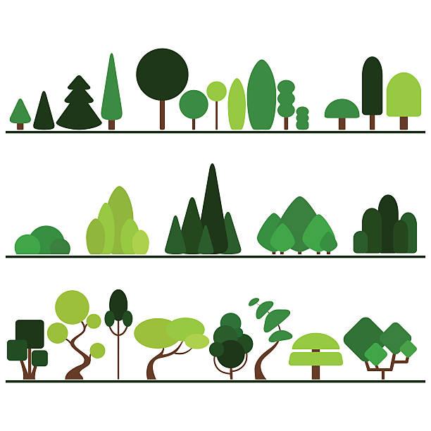 Conjunto de TV, incluindo pinheiros, árvores, arbustos e plantas sofisticado - ilustração de arte em vetor