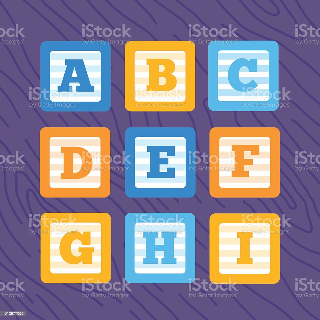 plano Vector de alfabeto Conjunto de bloques de bebé - ilustración de arte vectorial