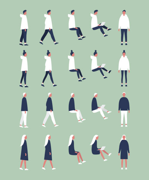 set of flat vector characters in different poses. young adults. lifestyle illustration. flat editable vector, clip art - siedzieć stock illustrations