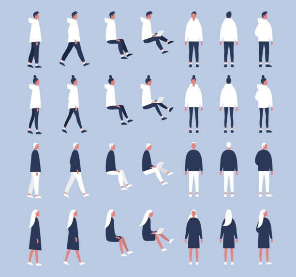 Set of flat vector characters in different poses. Young adults. Lifestyle illustration. Flat editable vector, clip art Set of flat vector characters in different poses. Young adults. Lifestyle illustration. Flat editable vector, clip art characters stock illustrations