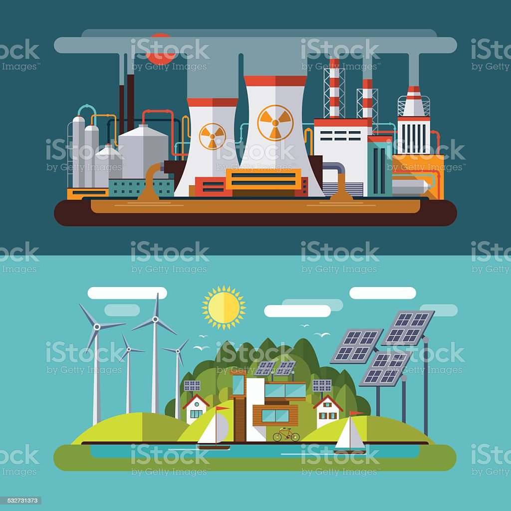 Set of flat vector ecology concept illustrations vector art illustration