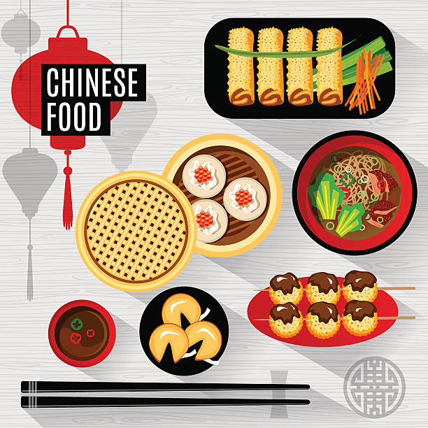 set of flat vector elements for chinese restaurant - chinese food stock illustrations, clip art, cartoons, & icons