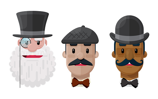 Set of Flat Vector Gentlemen in Hats and mustaches Cartoon Graphic Illustration Icons