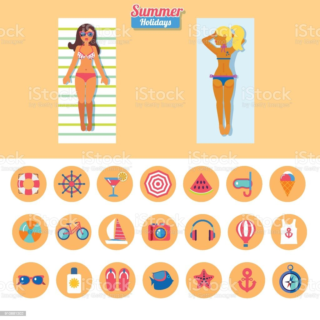 set of flat vector icons for vacation on beach with two sunbathing girls vector art illustration