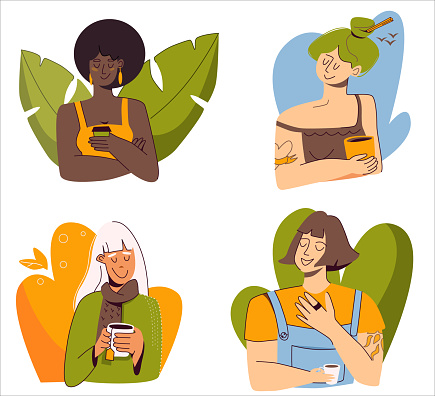 Set of flat vector illustrations, four different women with hot drinks - coffee, tea, hot chocolate isolated on a white background.