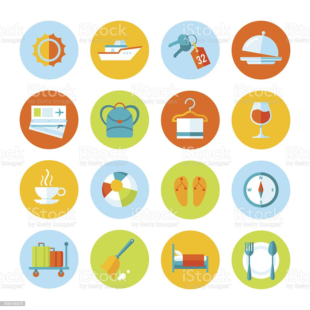 Set of flat vector travel and tourism icons. vector art illustration