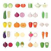 Set of flat vegetables.