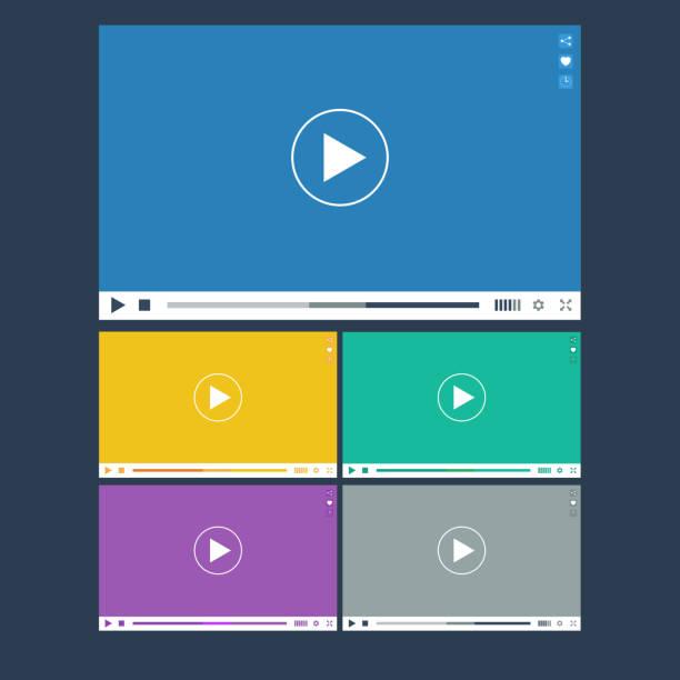 ilustrações de stock, clip art, desenhos animados e ícones de conjunto de apartamento video player para web e aplicações móveis - video