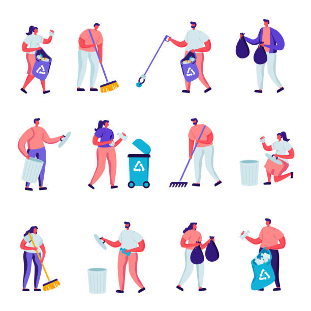 Set of Flat Volunteers Collect Litter Characters. vector art illustration