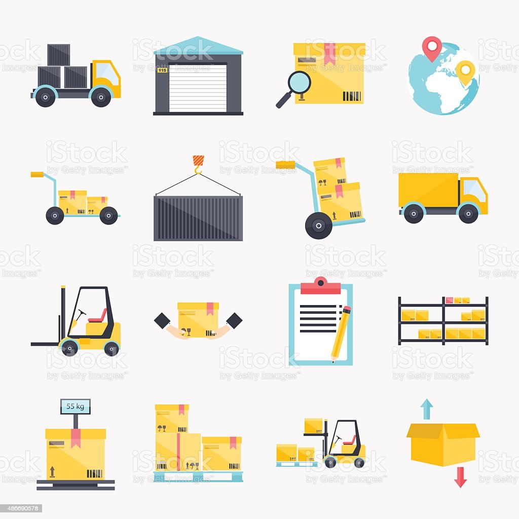 Set of flat warehouse icons logistic blank and transportation, s vector art illustration