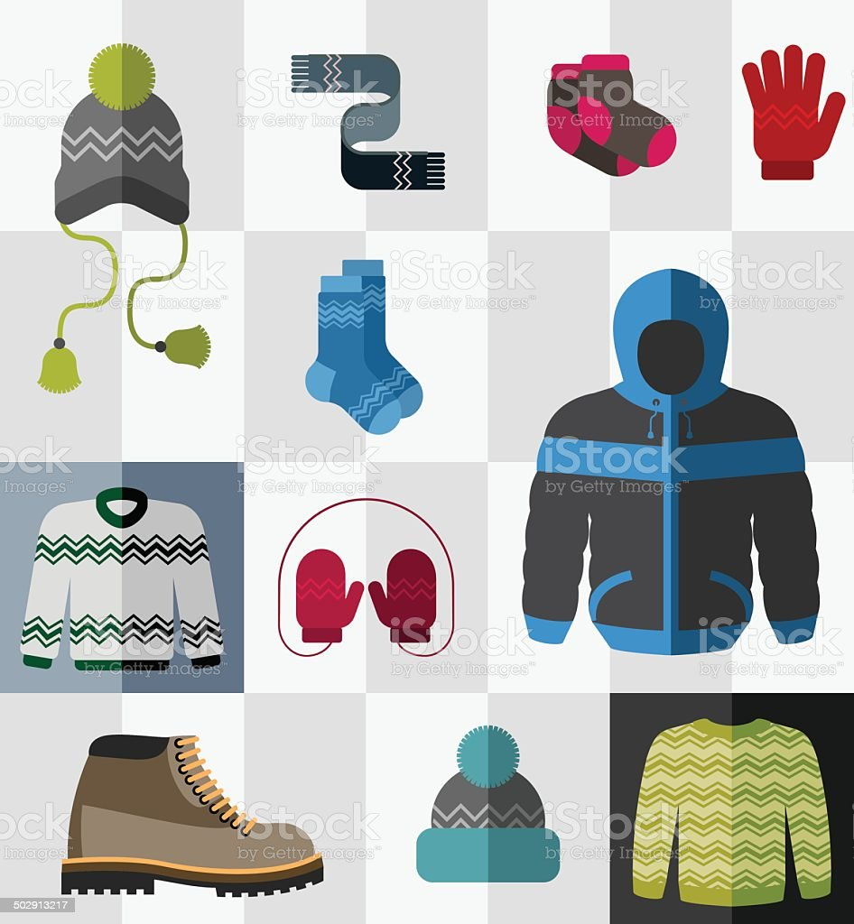 Set of flat winter clothes and accessories vector art illustration