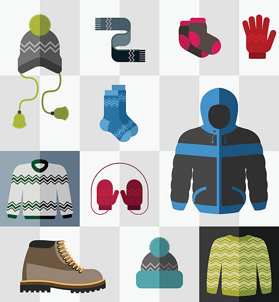 Set of flat winter clothes and accessories Various types of winter clothes and accessories formal glove stock illustrations