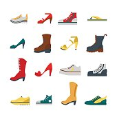 Set of flat-style shoes colored isolated. Men and women sneakers, shoes and boots. EPS10