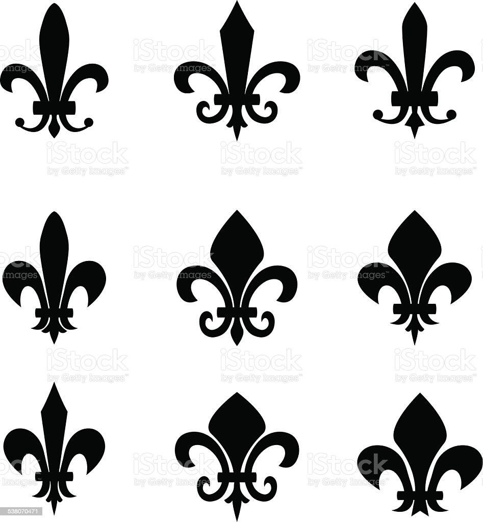 set of fleur de lis signs stock vector art   more images fleur de lys vector illustration fleur de lys vector download