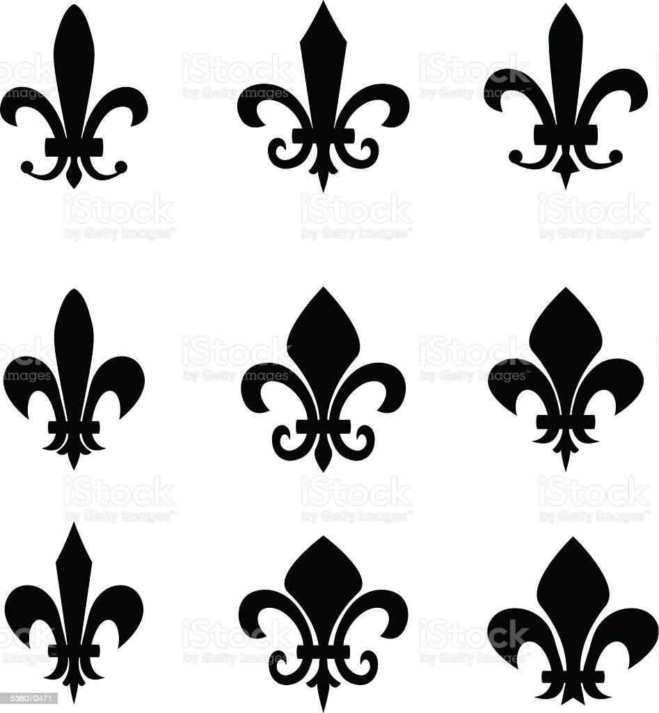 Set of Fleur De Lis signs vector art illustration