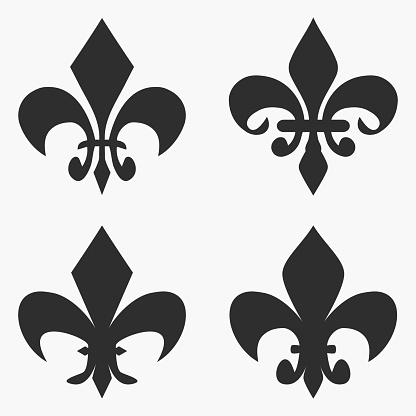 Set of Fleur de lis symbol. French heraldic lily. Vector