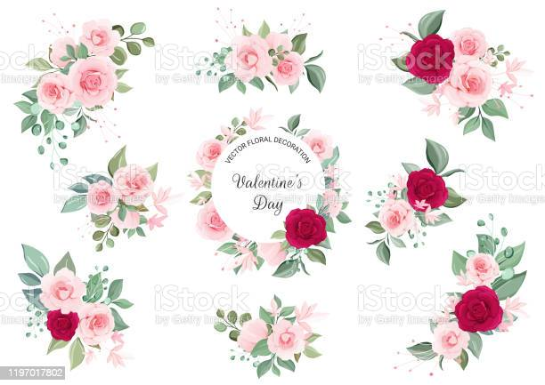Set of floral arrangements and frame flowers illustration decoration vector id1197017802?b=1&k=6&m=1197017802&s=612x612&h=j0ienb0f3s aoq bv26oyeg0copdtrwd3bfbwwjfyqi=