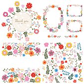 Set of floral backgrounds. Spring and summer flowers. Vector.