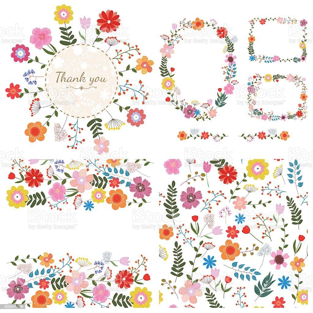 Conjunto de floral de fundo. Flores de primavera e verão. Vetor. - ilustração de arte em vetor