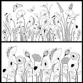 Set of floral banners in white and black