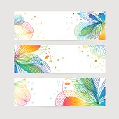 Set of floral banners, flower design