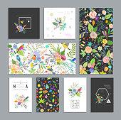 Set of floral cards.