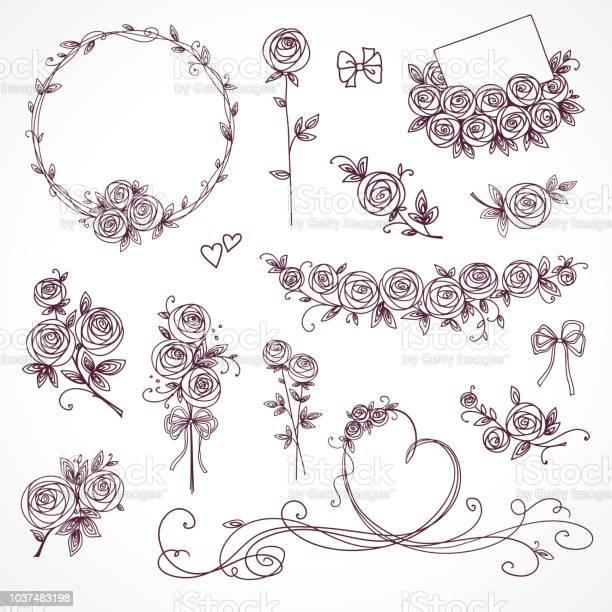 Set of floral design elements flower branch wreaths heart roses vector id1037483198?b=1&k=6&m=1037483198&s=612x612&h=h1balcbij1labgp nqksegzw3gqmriymo4ynw 2gnai=