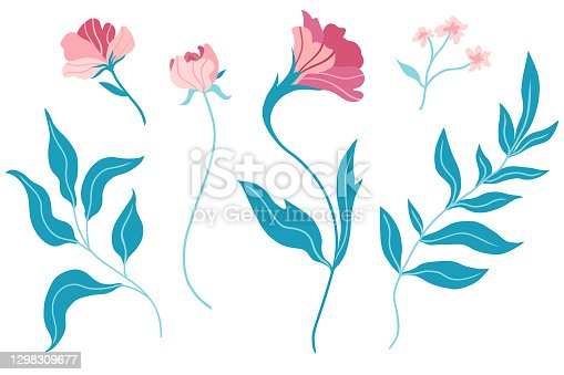 istock Set of floral design elements in flat minimalism style. Botanical collection. Hand drawn vector illustration. Isolated on white background. 1298309677