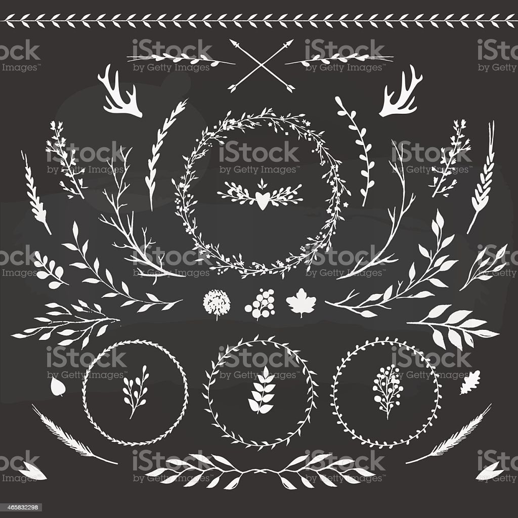 set of floral elements vector art illustration