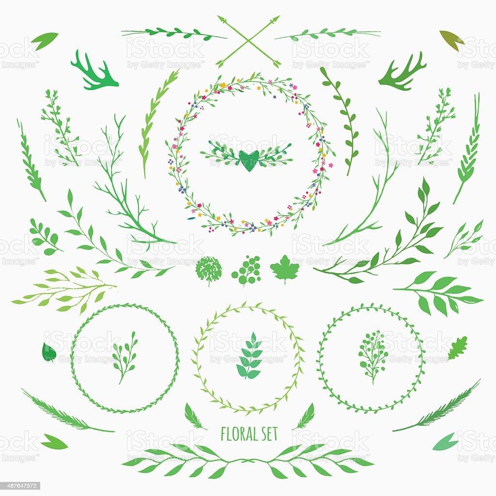 set of floral elements vector art illustration