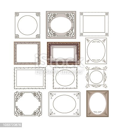 Set of floral frames border for decor and decoration of gifts and invitations