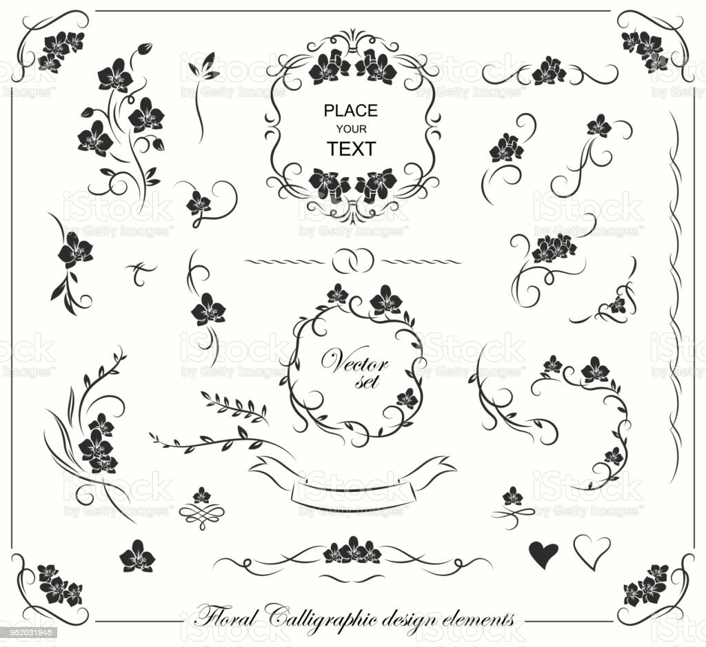 Set Of Floral Frames Borders Labels Corners Collection Original Design Elements