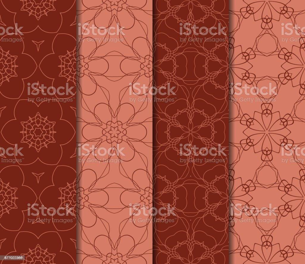 花柄幾何学的な飾りのセットシームレス パターン室内装飾壁紙招待