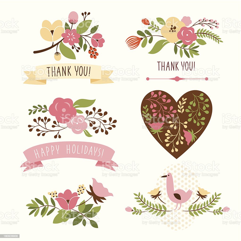 set of floral graphic elements royalty-free stock vector art