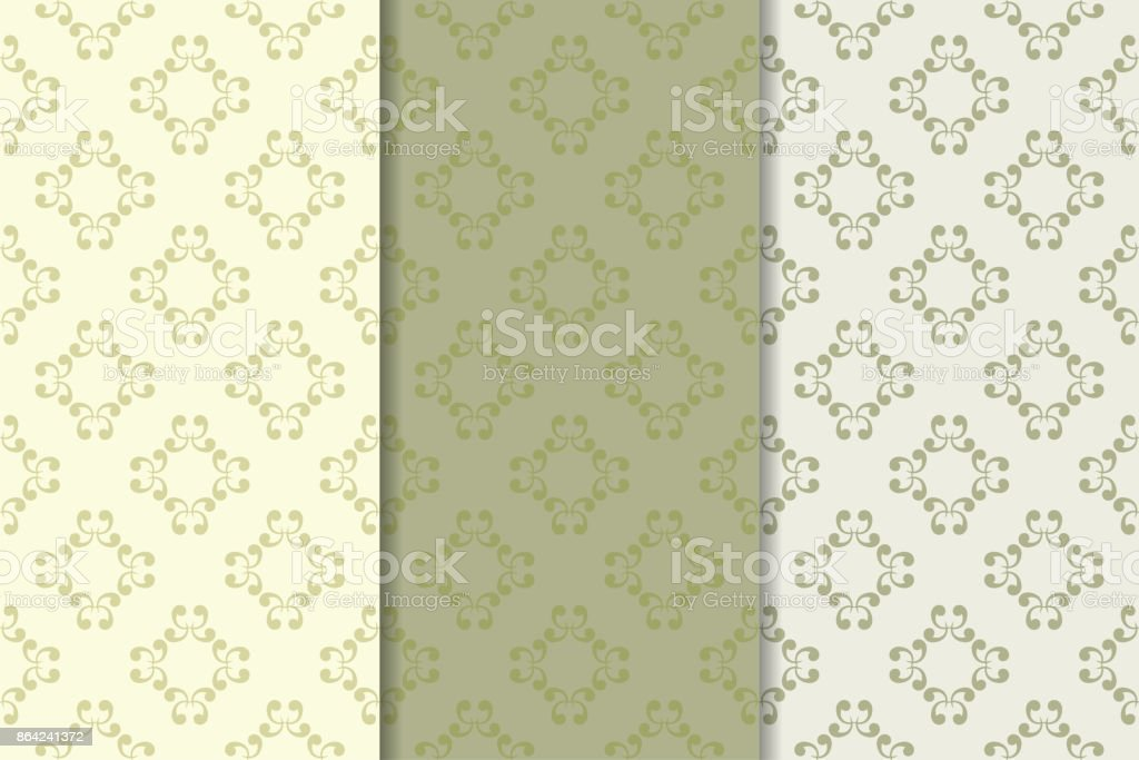 Set of floral ornaments. Olive green vertical seamless patterns royalty-free set of floral ornaments olive green vertical seamless patterns stock vector art & more images of abstract