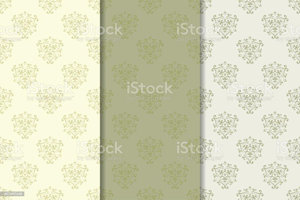 Set de ornamentos florales. Patrones sin fisuras verticales verde oliva - arte vectorial de Beige libre de derechos