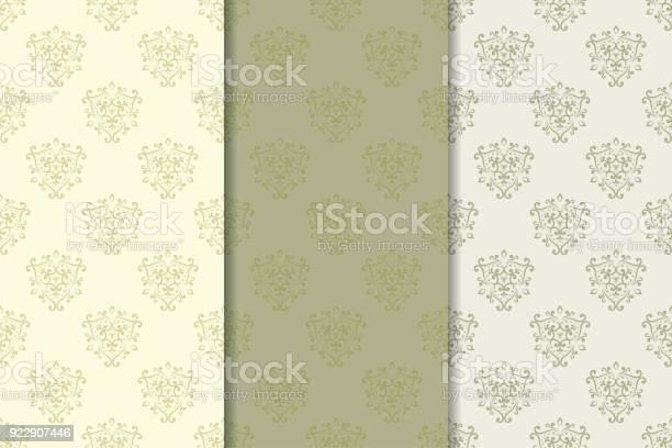 Ilustración de Set De Ornamentos Florales Patrones Sin Fisuras Verticales Verde Oliva y más Vectores Libres de Derechos de Beige