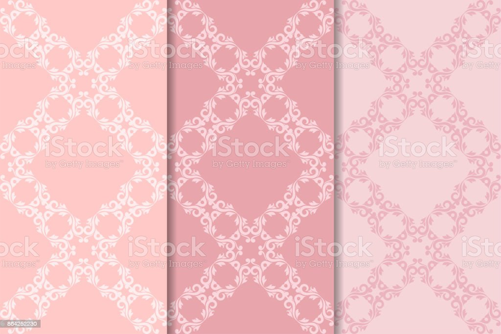 Set of floral ornaments. Pale pink vertical seamless patterns royalty-free set of floral ornaments pale pink vertical seamless patterns stock vector art & more images of abstract