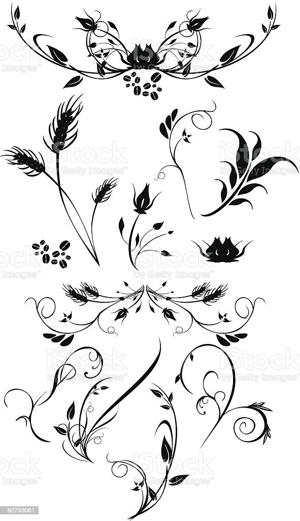 Set of floral ornaments royalty-free stock vector art