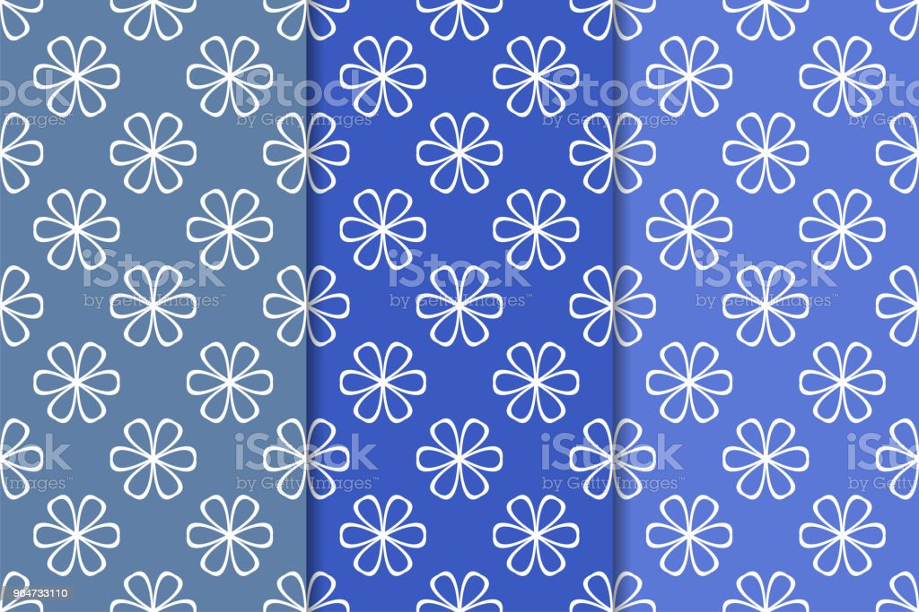 Set of floral ornaments. Vertical blue seamless patterns royalty-free set of floral ornaments vertical blue seamless patterns stock vector art & more images of abstract